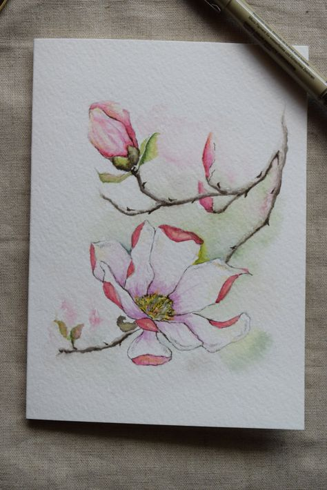 Pink Magnolia Watercolor Painted Card Original by SunsetPeonies