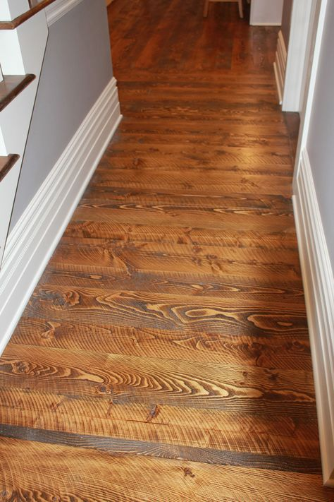 This Is Circular Sawn Fir Flooring That Has Both 1x6 And 1x8 T G Mixed Throughout This Has A Walnut Color Stain And Then Cedar Siding Rustic Flooring Flooring
