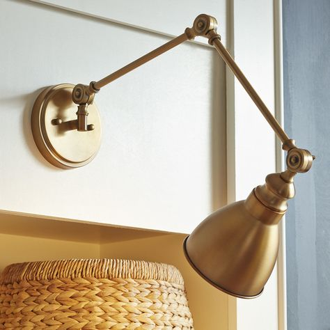 Atelier Sconce Antique Brass Wall Lamp E27 Light Swing Arm Lighting Fixture