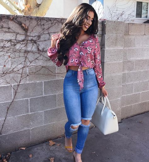 ✨Giving you ladies some Spring outfit inspo just in time for Easter outfit from search though luck jeans and karia floral… spring casual outfit high waisted Rise jeans distressed .