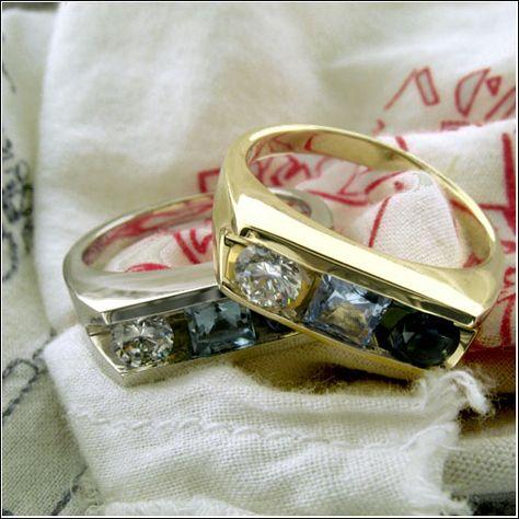14K Two Tone Gold Channel Set Princess Cut CZ Mens Wedding Band