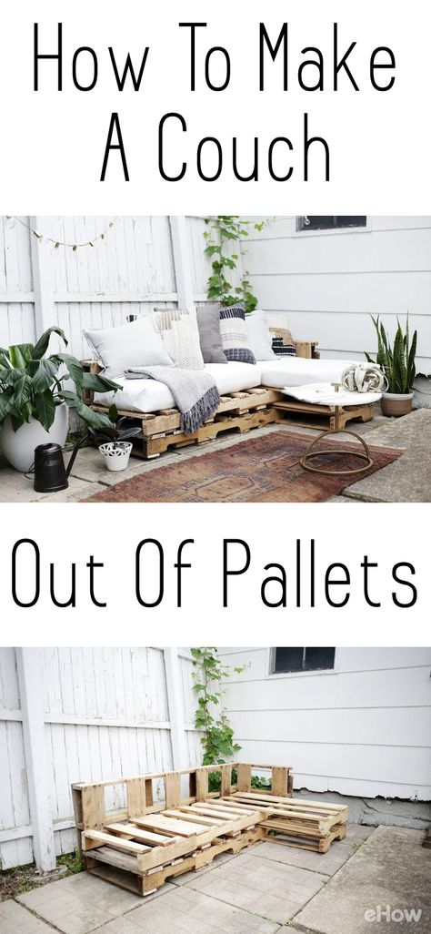 Como fazer um sofá de paletes, Home Accessories, DIY a couch out of pallets. This is a beautiful and easy to make piece you can add to your backyard, patio, or any room you want! Saves you so much mo. Unique Home Decor, Home Decor Items, Diy Home Decor Easy, Palet Exterior, Diy Casa, Diy Patio, Backyard Patio, Patio Ideas, Backyard Furniture