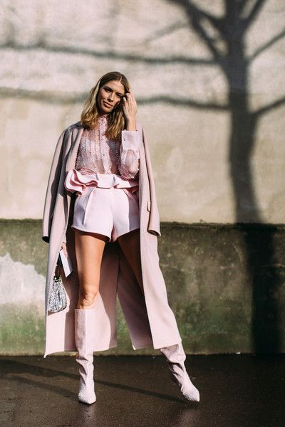 Blush Pink Layers - Flawless Street Style Snaps From Paris Fashion Week, Fall 2018 - Photos