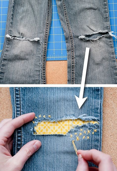 Cute ways to patch up your clothes! ~ A great list of DIY style, clothing and li. - Cute ways to patch up your clothes! ~ A great list of DIY style, clothing and life hacks every girl - Sewing Hacks, Sewing Tutorials, Sewing Crafts, Sewing Patterns, Sewing Tips, Fabric Crafts, New Yorker Mode, Visible Mending, Diy Clothing