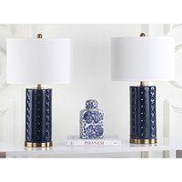 Safavieh Kingship Bedside Lamps, Navy