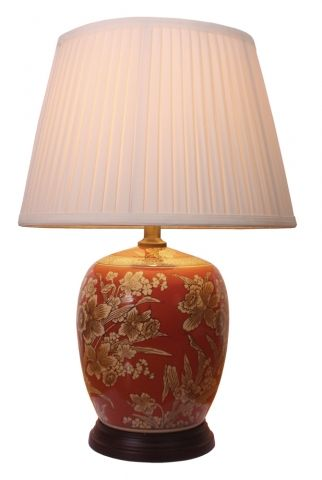 Chinese Table Lamp Daffodils Pair
