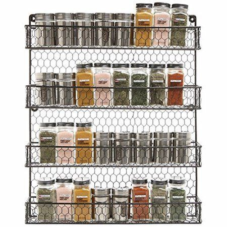 Metal Spice Rack Kitchen Wall Mount 4 Tier Metal Wire Spices