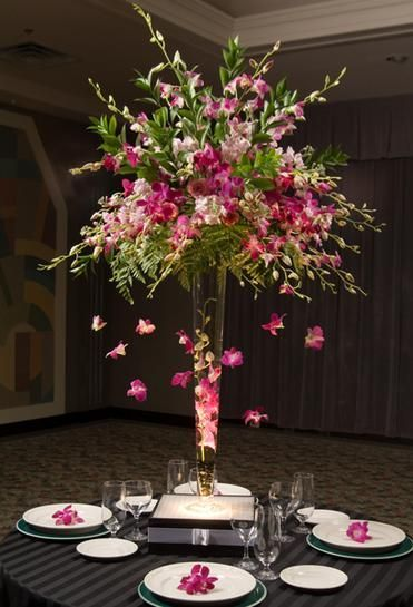 flowing orchid centerpiece