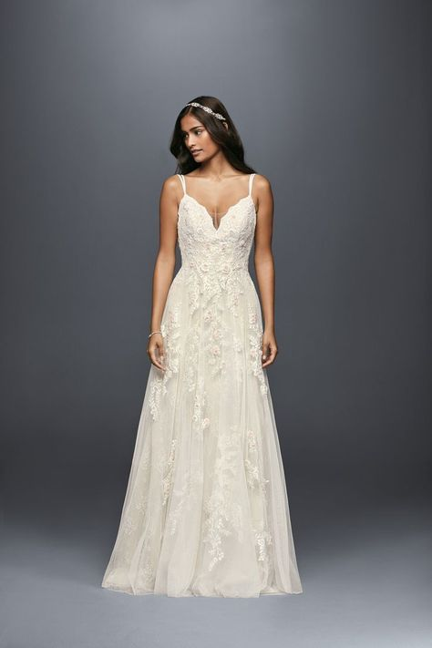 8973f897cfc9f Spaghetti Strap Illusion V-Neck Scalloped A-line Wedding Dress by Melissa  Sweet available at David's Bridal