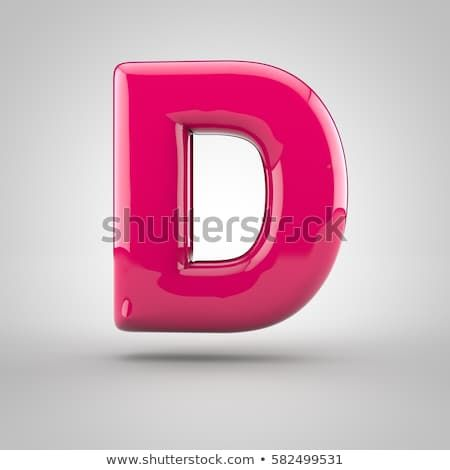 Glossy pink paint letter D uppercase  3D render of bubble font with