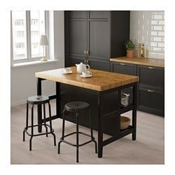 Kitchen island VADHOLMA black, oak in 2019 | Kitchen | Kitchen