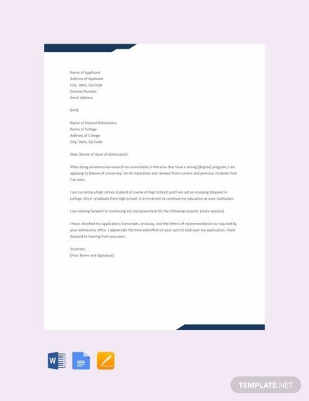 College Application Letter Template Free Pdf Word Doc Apple Mac Pages Google Docs Outlook Application Letters Business Letter Example Application Letter Template