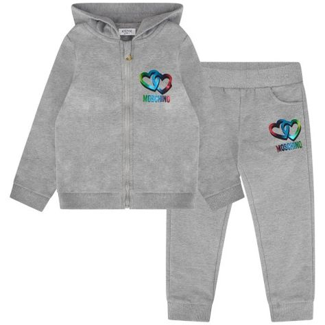 d8afc194a7385 Moschino Baby Girls Grey Hearts Tracksuit