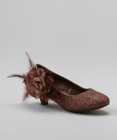 Another great find on #zulily! Brown Glitter Flower Kitten Heel #zulilyfinds