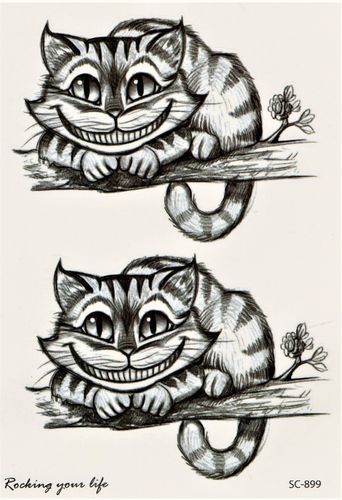 Katze Lustig Tier Comic Cat Tattoo Vintage Dog Wonderland Tattoo