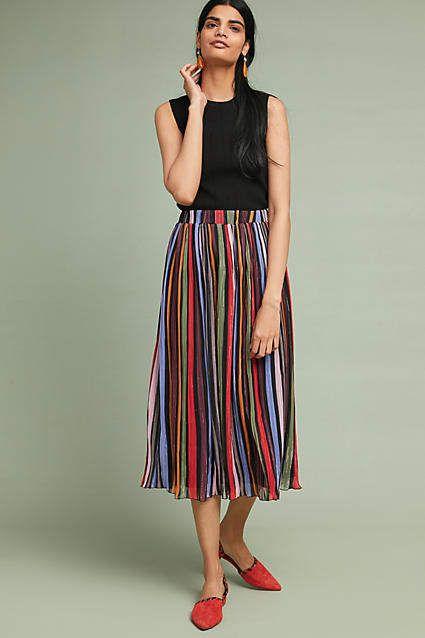 7c62f0f0f Rainbow-Striped Midi Skirt in 2019 | Midi skirts | Midi skirt ...