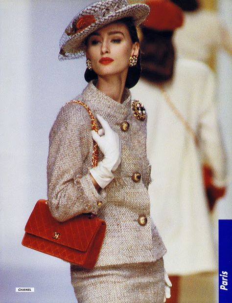 Aly Dunne for Chanel Fashion Show, Fall/Winter 1988 tag: Karl Lagerfeld