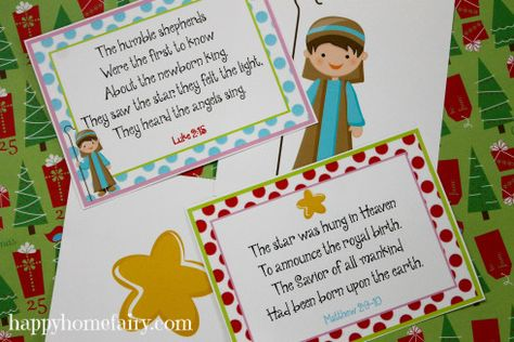 FREE Printable 12 Days of Christmas Poem and Nativity cards