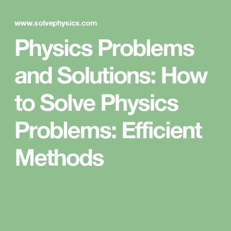 problem solving in physics with solution