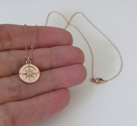 Rose Gold Compass Necklace Graduation Gift for Her   Etsy