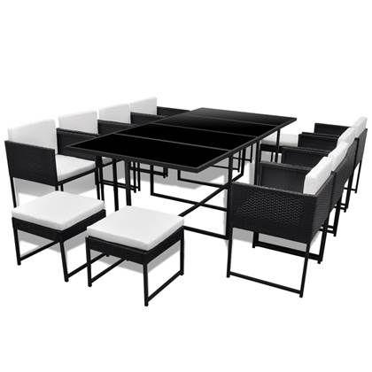 Wicker Eettafel Set Met 8 Stoelen En 4 Krukken Zwart.Vidaxl 13 Delige Tuinset Met Kussens Poly Rattan Zwart In 2020