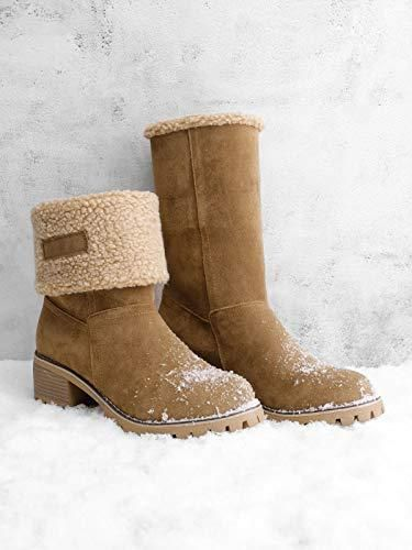 Wadonerful-women Snow Boots Round Toe Suede Warm Anti Slip Chunky Square Heel Waterproof Outdoor Short Booties