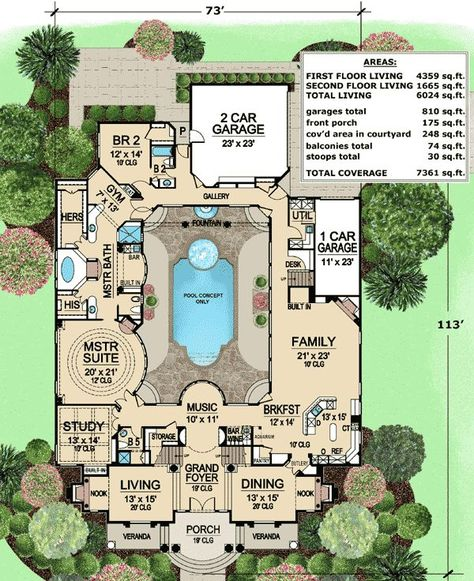 home plans with central courtyard. Plan 36186TX  Luxury with Central Courtyard 81384W Open Dream Home Mediterranean house