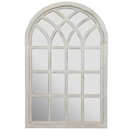 Gallery Solutions Farmhouse Cathedral Windowpane Wall Mirror In Antique White 46 X30 Walmart Com Mirror Wall Bedroom White Wall Mirrors Oversized Wall Mirrors
