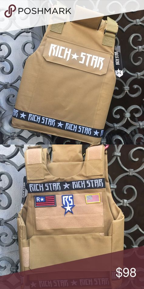 Men's Khaki Fashion Vest 100% Polyester Rich Star Jackets & Coats Vests