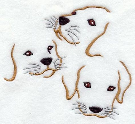 Puppy Trio Embroidered Flour Sack Hand/Dish Towel