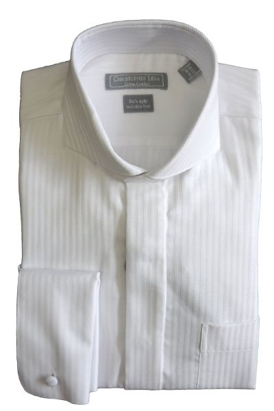 Christopher Lena Mens Wrinkle Free Herringbone Stripe Cutaway Collar Dress Shirt