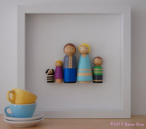Customized Peg Doll Family Wall Art by Bazar Rosa, $50.00