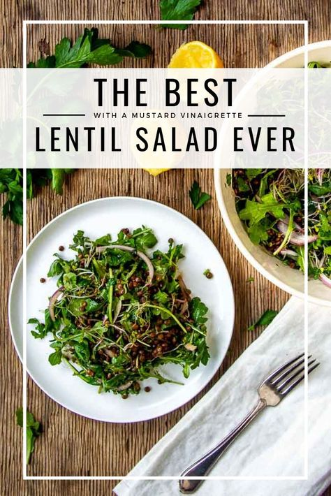 The BEST Lentil Salad Recipe is so EASY to make. Naturally vegan and gluten-free, and uses all pantry-staple ingredients so it is simple to make for those busy days. The mustard vinaigrette marinades this cold lentil salad to make a healthy and delicious dish that even the biggest of lentil skeptics will love #lentilsalad #easydinner #vegandinner #lentilrecipe #lentilmeals #healthydinner #quickandeasy #weeknightdinner