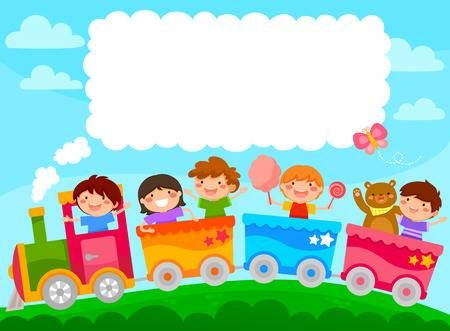 Kids In A Colorful Train With Space For Text Art Drawings For Kids Preschool Designs School Scrapbook