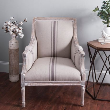Mckenna Tan Stripe Accent Chair Farmhouse Style Chair For The Living Room Grain Stripe Farm In 2020 Living Room Chairs Furniture Restoration Hardware Dining Chairs