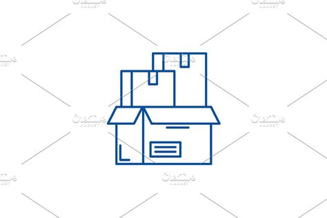 Product packaging line icon concept