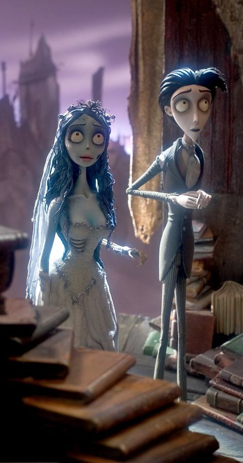 Corpse Bride (Tim Burton) Photo Victor Van Dort and title character Tim Burton Kunst, Film Tim Burton, Tim Burton Characters, Tim Burton Art, Movie Characters, Halloween Wallpaper Iphone, Cartoon Wallpaper, Disney Wallpaper, Corpse Bride Quotes