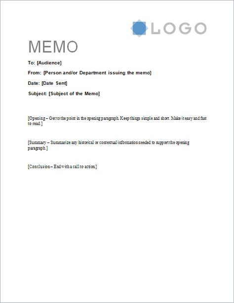 Download the Sample Memo Letter Template from Vertex42 - word memo template