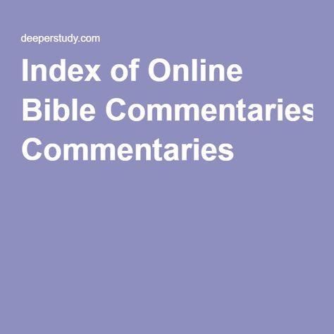 Index of Online Bible Commentaries