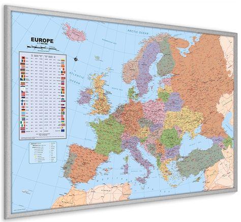 Lijst 60 X 90.Kurk Prikbord Europa Kaart Met Zilveren Lijst 60 X 90 Cm