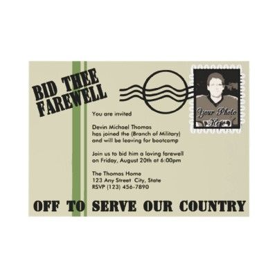Military Going Away Party Custom Announcements from http://www.zazzle.com/military+invitations