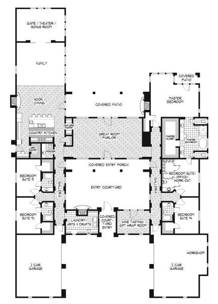 Flowing floor plans on pinterest small house plans for Mexican hacienda floor plans