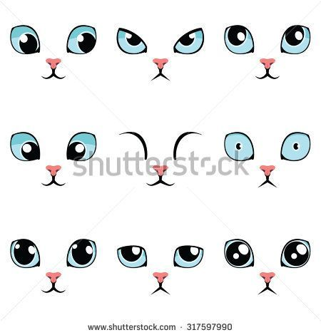Image Result For Cute Cartoon Eyes Drawing Catdibujo Cat Face