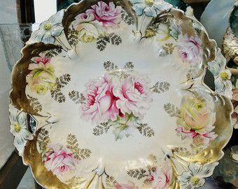 bows garlands TT flowers Antique Victorian salad bowl