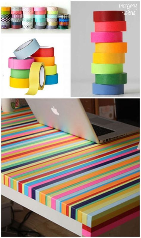 Make a Rainbow Table - Create. - Isi T. - Make a Rainbow Table - Create. You can easily make a colorful table using washi tape. Here are some fun ideas to get you inspired to update your playroom or office. Washi Tape Wallpaper, Wallpaper Art, Tape Crafts, Diy And Crafts, Diy Wall Decor, Diy Home Decor, Decor Crafts, Room Decor, Rainbow Table