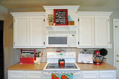 Great Creating Faux Varied Height Cabinets And A Shelf Over A Stove | Stove,  Shelves And Builder Grade