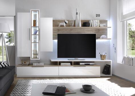 Wohnwand weiss Hochglanz  Sanremo Eiche sand Woody 41-02106 - wohnzimmermöbel weiß hochglanz