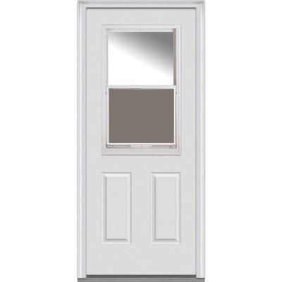 Mmi Door 36 In X 80 In Left Hand Inswing 1 2 Lite Clear Vented Primed Fiberglass Smooth Prehung Front Door On 6 9 16 In Frame Entry Doors With Glass Glass Door Primed Doors