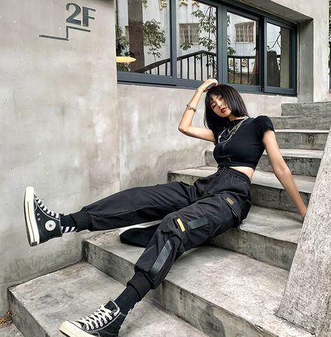 Streetwear Black Pants Women Korean Style Elastic Waist Sweatpants