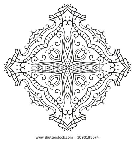 Rhombus Ornamental Mandala With Cross In Middle Isolated Design